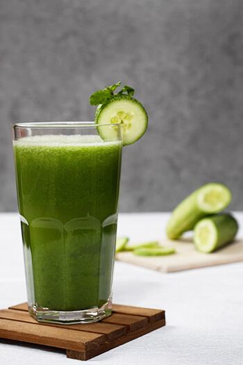 Green juice is a drink made from a blended combination of green vegetables