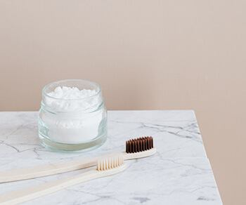 Mix baking soda and water to make a toothpaste