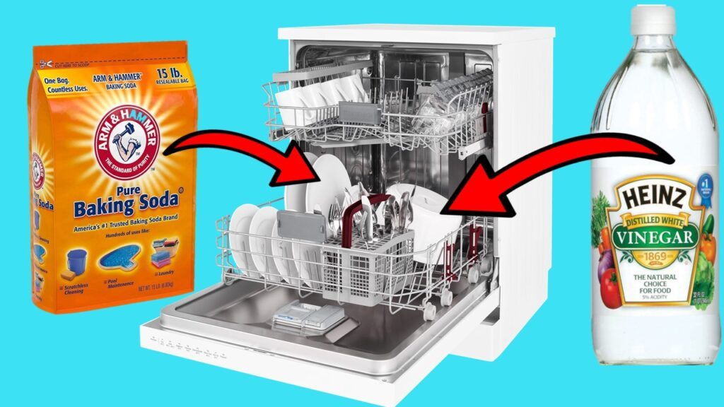 Can you put vinegar and baking soda in dishwasher at the same time?