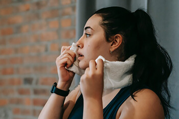 person sweaty after exercise